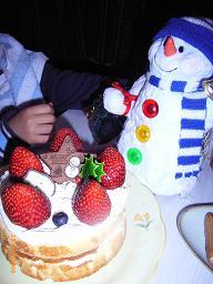 スノーマン&ケーキ.JPG